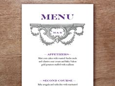 Easy to edit and make. Download this PDF printable #WeddingMenuTemplate enter your text, print and cut down the middle!