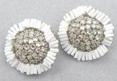 Miriam Haskell white glass bugle beads in a wavy around clear rose montee rhinestones