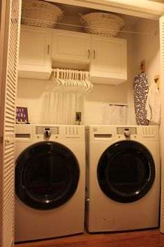 cute little laundry closet makeover.  I have a similar upstairs closet I want to renovate...