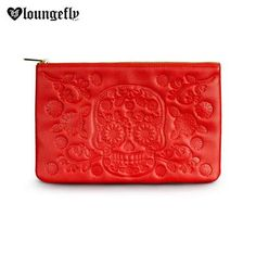 This #Loungefly Red Embossed Sugar Skull Clutch is an awesome and eye-catching additon to Loungefly's new Skull Embossed Collection.  Get yours here:   http://www.loungefly.com/brands/loungefly/bags/loungefly-red-embossed-sugar-skull-clutch.html