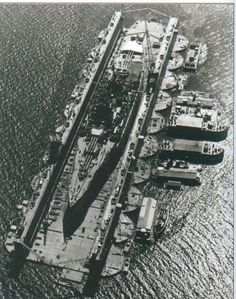 "sailnavy: ""US New Mexico-class battleship in floating dry dock, World War II Pacific. """