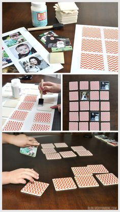 This week we made our very own memory game using family pictures! Pinhole Press makes a beautiful set of customized memory game pieces that make for a great gift! This, of course, inspired us to make our own! It's a little time consuming, but overall it was a fun project that turned out looking great. The kids love it, and get really excited when they flip over the pieces to reveal pictures of themselves! We've even attached some free PDFs of Vicky Barone's signature chevron design in three…