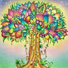 Tree from Magical Jungle using prismacolor and pastels Secret Garden Coloring Book, Coloring Book Art, Colouring Pages, Adult Coloring Pages, Johanna Basford Magical Jungle, Arte Quilling, Enchanted Forest Coloring Book, Johanna Basford Coloring Book, Caran D'ache