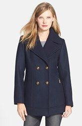 Pendleton Double Breasted Wool Blend Peacoat