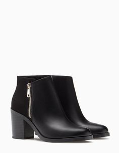 High heel ankle boots with zip detail - null High Heel Boots, Heeled Boots, Shoe Boots, High Heels, Black Leather Ankle Boots, Leather Heels, Black Shoes, Pretty Shoes, Cute Shoes
