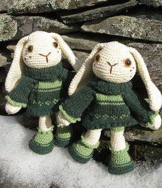 Amigurumi Bunny Rabbit Dolls: crocheted in green dresses. Easter gift?