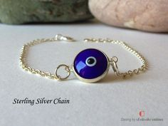 ✔️ Lovely, thin Evil Eye Bracelet. Sterling Silver Bracelets, Beaded Bracelets, Evil Eye Bracelet, Eyes, Trending Outfits, Unique Jewelry, Handmade Gifts, Vintage, Kid Craft Gifts