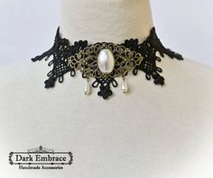Dark Embrace Handmade Accessories - www.facebook.com/www.Dark.Embrace.Handmade.Accessories / Black lace choker decorated with filigree connector ,pearl gemstone cabochon and pearl beads.  / Shop: www.darkembrace.gr / #choker  #goth #gothic #gothicaccessories  #gothicchoker #lacechoker #victorian #victorianchoker #frame #pearl