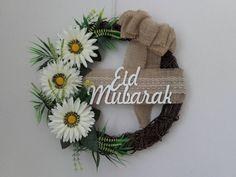 Birch wreath with Eid mubarak laser cutout wooden sign/ Eid decoration/Eid wreath/ Eid gifts/eid celebration/eid al-Adha/islamic gifts Eid Mubarak Wishes, Eid Mubarak Greetings, Diy Wreath, Wreaths, Islamic Celebrations, Hand Embroidery Patterns Free, Ramadan Greetings, Eid Al Fitr, Ramadan Decorations