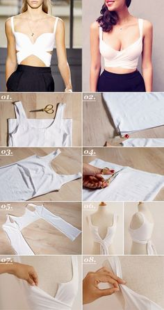 Here is A pair & a spair's  genius Balencia inspired DIY crop top tutorial!   You will need:  - A white tank dress or extra long sing...