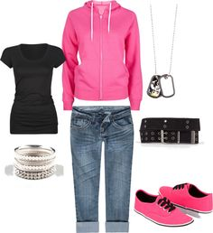 """Pinky Casual"" by sweetascandie on Polyvore"