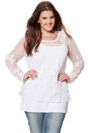 Plus Size Mesh Embroidered Tee