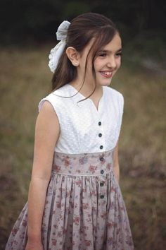 Opal vintage pattern is the epitome of the fit & flare! Sweet dress is full of delicate details sure to impress! Kids Frocks, Frocks For Girls, Little Girl Outfits, Little Girl Fashion, Little Girl Dresses, Kids Outfits, Girls Dresses Sewing, Teen Dresses, Woman Outfits