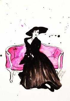 Daydreaming Vintage Fashion Illustration Print of Original Watercolor Illustration by Talula Christian