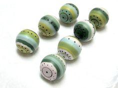 7 round stripy colorful handmade beads in by OrlyFuchsGalchen, $31.50