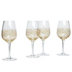 Wilko Wine Glasses 4pk Sparkle Gold