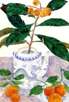 Loquats & oranges: : Gabby Malpas watercolour C6 greeting card and envelope by Mango Frooty