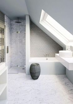 Small bathroom in need of clever tricks? Browse our small bathroom design ideas., Small bathroom in need of clever tricks? Browse our small bathroom design ideas. loft conversion bathroom with fittings from Bathro. Loft Bathroom, Upstairs Bathrooms, Bathroom Layout, Bathroom Interior, Bathroom Ideas, Bathroom Remodeling, Small Attic Bathroom, Remodeling Ideas, Master Bathroom