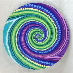 Lazy Susan 10 Hand Painted 18 Diameter Swirly Dots by LisaFrick
