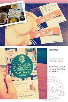 dapet voucher dan makan gratis itu luar biasa, ditambah sebagian uang dari pembayaran makanan bisa kita sumbangkan untuk keluarga kita di Palestina. Kopeerasee PT Bank Syariah Mandiri - Solidarity for Palestin.