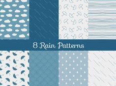 8 Seamless Rain Theme Vector Patterns -   8 Finely designed rain-themed patterns with umbrellas and raindrops – vector AI file.                              - https://www.welovesolo.com/8-seamless-rain-theme-vector-patterns/