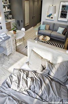 Kawalerka - jak urządzić ją funkcjonalnie. Sypialni, salon, gabinet, jadalnia i kuchnia w jednym pomieszczeniu.