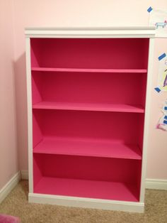 White Bookshelf With Hot Pink Inside For A Splash Of Except I Would