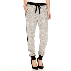 a.n.a Knit Jogger Pants ($25) ❤ liked on Polyvore featuring pants, jogger pants, elastic waistband pants, white pants, stretch waist pants y petite trousers