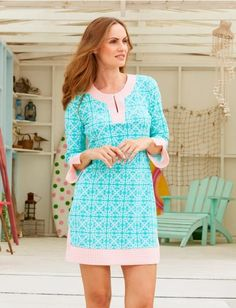 NEW! Monaco Blue Long Tunic, Womens Dresses And Cover Ups, $84.00 Cabana Life 50+ UPV Sun Protective Clothing