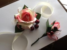 Corsage and Boutonniere  Pink Silk Roses by LihiniCreations, $22.00