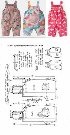 для деток: одежка для мальчиков Jardineira com botões para bebês - DIY- marlene mukai - molde infantil Toddler Sewing Patterns, Baby Girl Dress Patterns, Baby Clothes Patterns, Dresses Kids Girl, Dress Sewing Patterns, Clothing Patterns, Clothing Ideas, Baby Outfits, Toddler Outfits