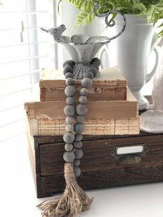 Weathered Wood Farmhouse Beads, Wood Bead Garland, Home Decor Beads Wood Bead Garland, Beaded Garland, Wooden Projects, Diy Projects, Passementerie, Weathered Wood, Wood Wood, Diy Home Crafts, Bead Crafts