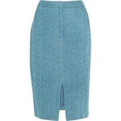Adam Lippes Denim pencil skirt ($485) ❤ liked on Polyvore featuring skirts, light blue, denim pencil skirt, adam, below knee skirts, pencil skirt and below the knee skirts