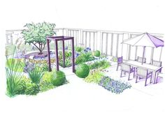 Concept sketch for a herb garden