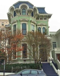 ♡♡The color looks different but I'm sure this is National Register Dallam-Merritt House San Francisco Victorian Architecture, Beautiful Architecture, Beautiful Buildings, Beautiful Homes, Painted Ladies, Victorian Homes, Victorian Era, Vintage Homes, House Deck