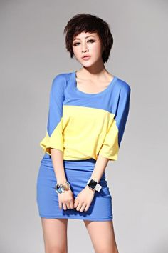 Stylish Style Batwing Sleeves Solor Splicing Design Dress For Women (LAKE  BLUE 1edc23a70