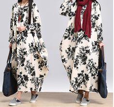 women casual loose dress cotton linen maxi dress plus size clothing long maxi dress-Buykud-1