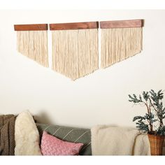 Complete your wall space with this unique, urban boho handmade chevron fiber wall art set. Each piece has been hand crafted using solid pine wood then stained with a dark brown finish that highlights it's true wood grain. Each dark brown wood Yarn Wall Art, Yarn Wall Hanging, Diy Wall Art, Wooden Wall Art, Cadre Diy, Chevron Art, Chevron Walls, Diy Casa, Easy Wall