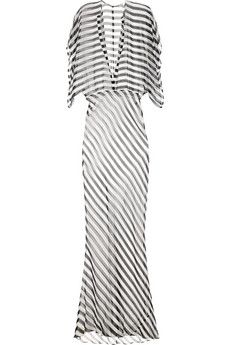 Norma Kamali  Obie Striped Silk-Chiffon Maxi Dress
