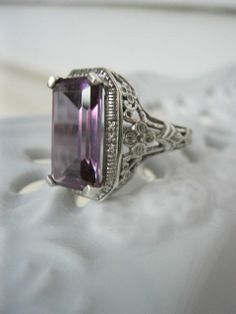 Antique Art Deco Ring - Sterling  Alexandrite - $85, The Rusty Chandelier (Etsy)