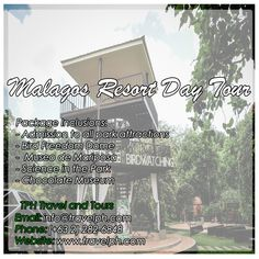 MALAGOS RESORT DAY TOUR  For more inquiries please call: Landline: (+63 2)282-6848 Mobile: (+63) 918-238-9506 or Email us: info@travelph.com #Davao #Philippines #TravelPH #TravelWithNoWorries Coron Palawan, Davao, Travel Tours, Travel Agency, Day Tours, Philippines, Tower, Park, Rook