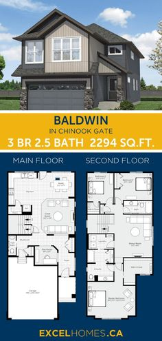 3 bedroom 2.5 bathroom 2,941 SQ.FT home floorplan! View more of this house: Baldwin in Chinook Gate | Home design by Excel Homes #homedesign #home #house #homebuilder #floorplans #houseplans