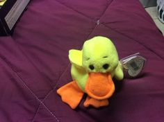 Retired, rare PVC Beanie Baby Quackers the duck NWT April 19 1994  #Ty