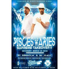 PLEASE SHARE All my Pisces Aries and Party People...come out and celebrate with us. Birthday coming up? Looking for the Ultimate Grown and Sexy Crowd? On March 19TH 2016 The Sexiest Pisces/Aries Turn-up of the Year is going down...@FRENCH QUARTER. ( More Details coming soon)  BLACK DIAMOND KINGS & QUEENS Presents:  Sexy Pisces...Aries Supreme Takeover 2016 (DRESS TO IMPRESS)  Date: Saturday March 19TH 2016 Time: From 9 pm to 2:00 am  Where: French Quarter Creole Bar & Grill Address: 16728…