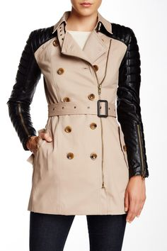 Quilted Faux Leather Accent Trench by Walter Baker on @nordstrom_rack
