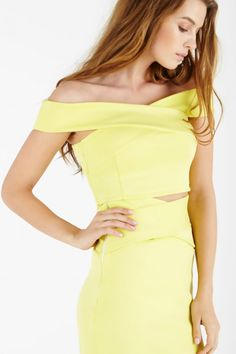 Lemon Scuba Cross Bardot Crop Top | Women's Tops | Lavish Alice