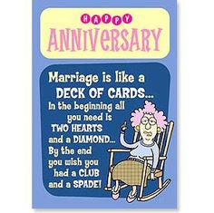 Anniversary Card-Deck of Cards – Jubilee Gift Shop Happy Anniversary Funny, Anniversary Quotes For Couple, Anniversary Wishes For Couple, All You Need Is, Deck Of Cards, Card Deck, Funny Wedding Speeches, Wedding Toast Samples, Marriage Humor