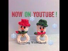 Rainbow Loom Snowman Christmas Wreath - Looming With Cheryl tutorial. Rainbow Loom Patterns, Rainbow Loom Creations, Rainbow Loom Bands, Rainbow Loom Charms, Christmas Snowman, Christmas Wreaths, Christmas Crafts, Rainbow Loom Christmas, Crazy Loom Bracelets