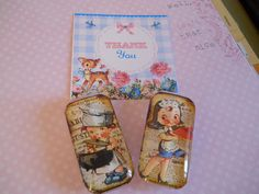 Vintage Retro Domino Magnet Handmade by Sweetturquoise on Etsy, $5.00