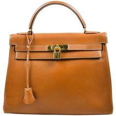 Preowned Vintage Hermes Ghw Cognac Brown Veau Grain Lisse Leather 32... ($7,340) ❤ liked on Polyvore featuring bags, handbags, brown, brown purse, brown leather purse, leather man bag, leather hand bags and cognac leather handbags